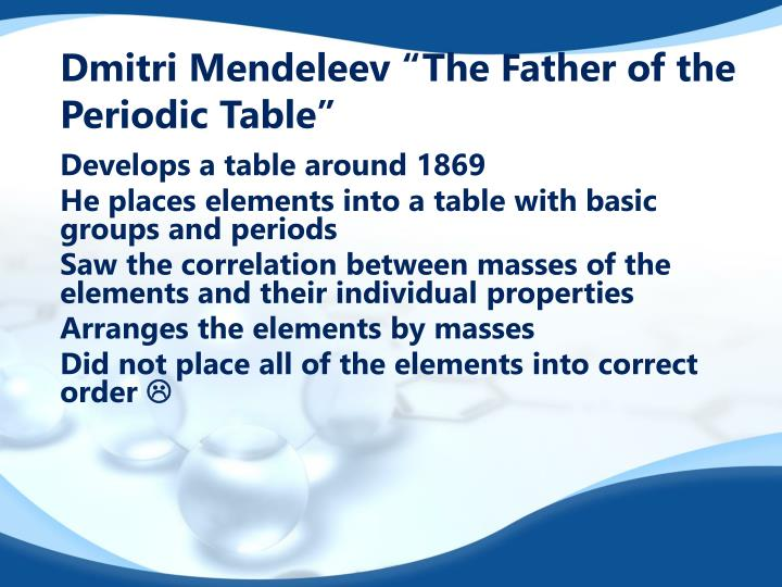 """Dmitri Mendeleev """"The Father of the Periodic Table"""""""