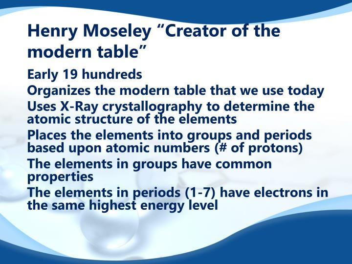 """Henry Moseley """"Creator of the modern table"""""""