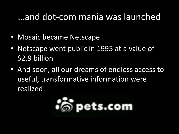 …and dot-com mania was launched