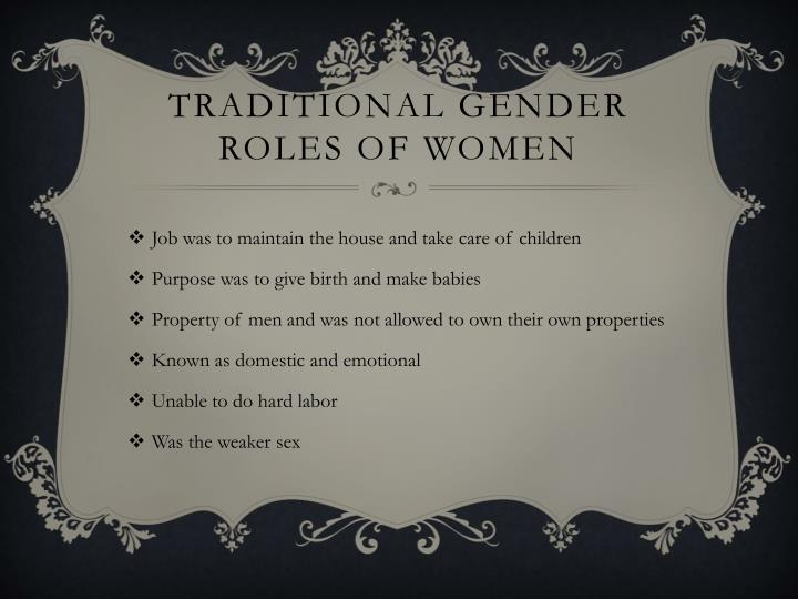 Traditional gender roles of women