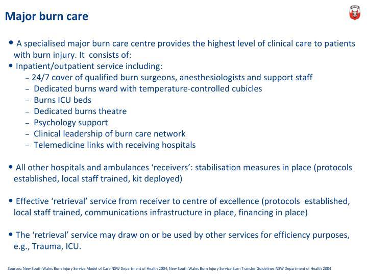 Major burn care