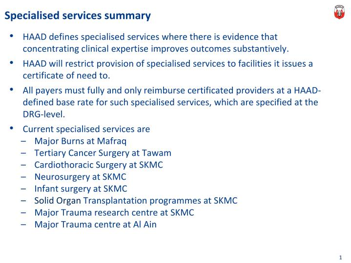 Specialised services summary