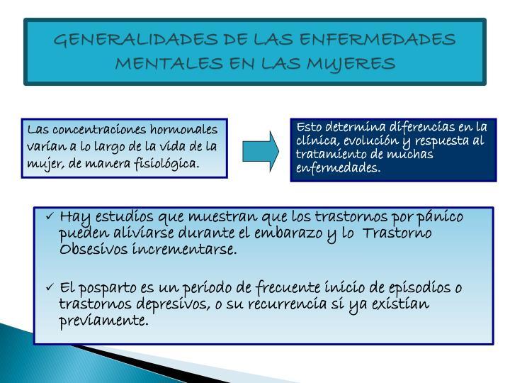 GENERALIDADES DE LAS ENFERMEDADES MENTALES EN LAS MUJERES