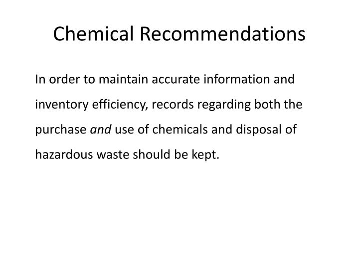 Chemical Recommendations