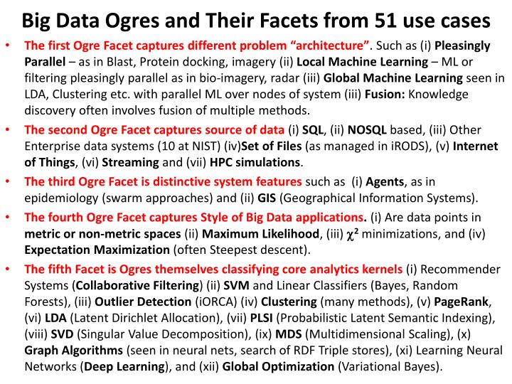 Big Data Ogres and Their Facets from 51 use cases