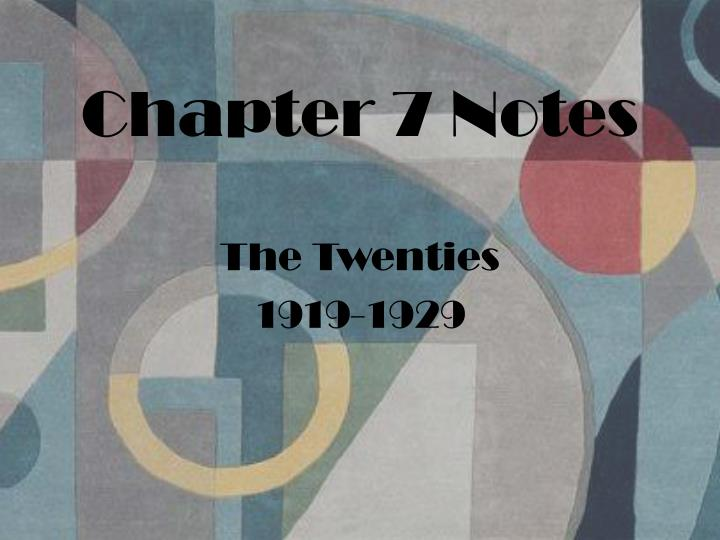 Chapter 7 Notes