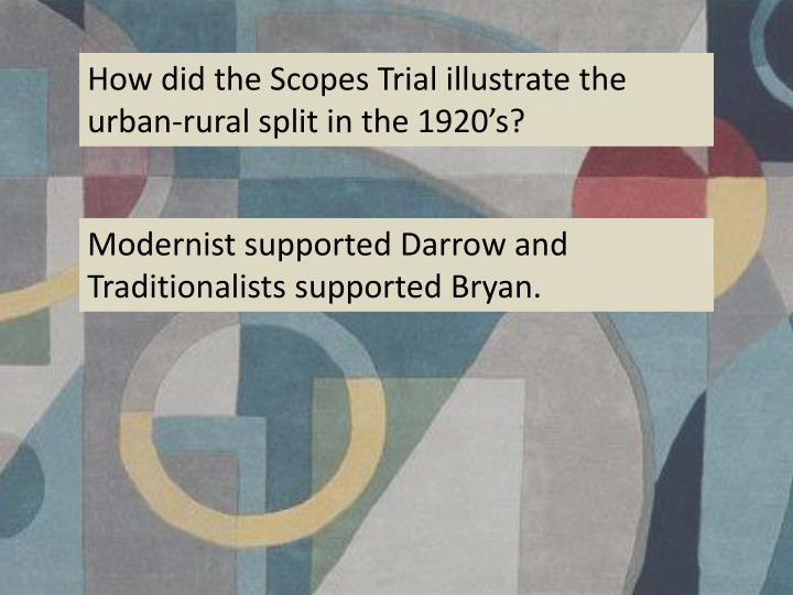 How did the Scopes Trial illustrate the urban-rural split in the 1920's?