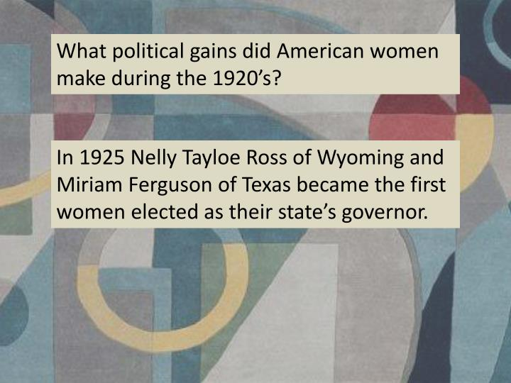 What political gains did American women make during the 1920's?