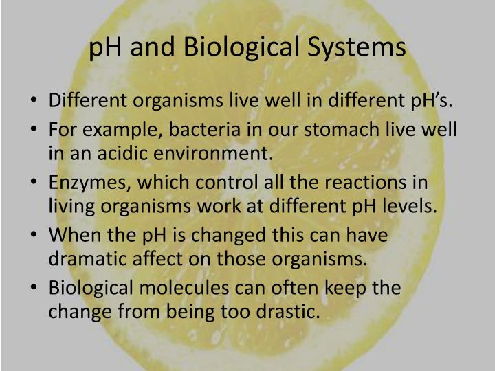 pH and Biological Systems
