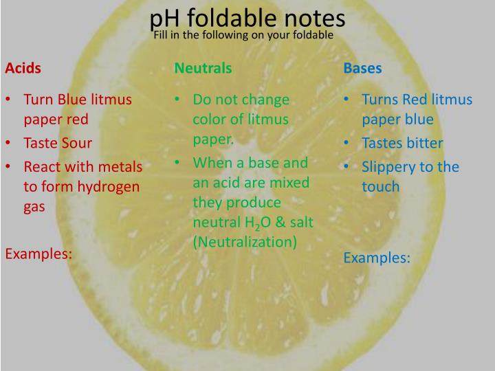 pH foldable notes