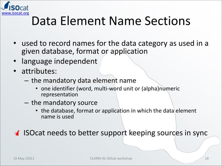 Data Element Name Sections