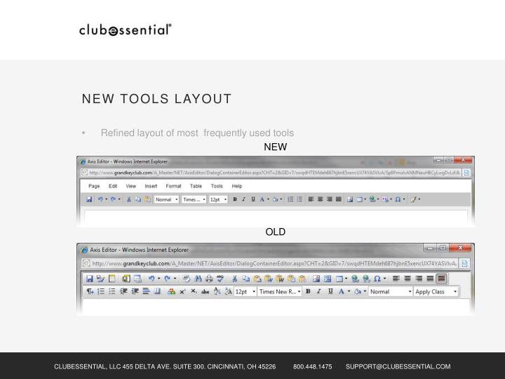 NEW TOOLS LAYOUT