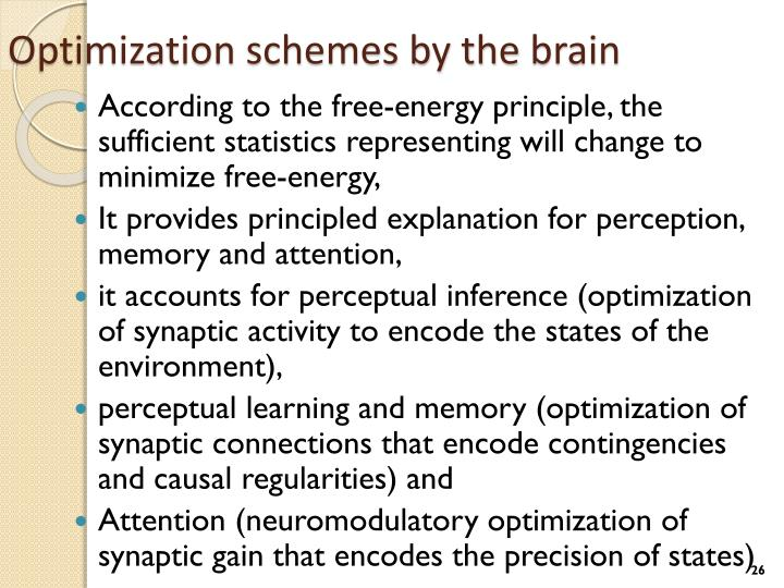 Optimization schemes by the