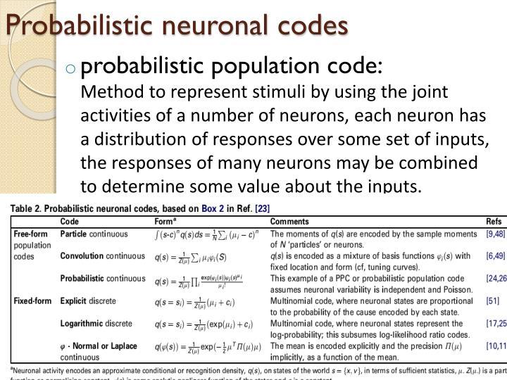 Probabilistic neuronal codes