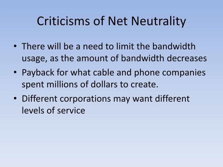 Criticisms of Net Neutrality