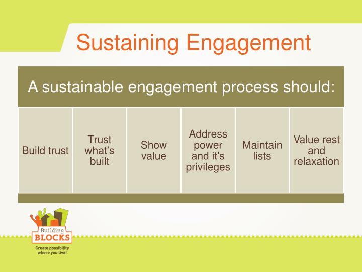 Sustaining Engagement