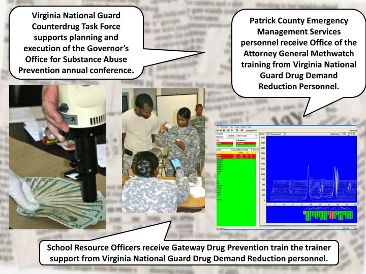 Virginia National Guard Counterdrug Task Force supports planning and execution of the Governor's Office for Substance Abuse Prevention annual conference.