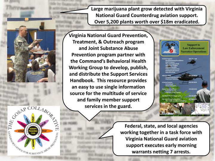 Large marijuana plant grow detected with Virginia National Guard Counterdrug aviation support.  Over 5,200 plants worth over $18m eradicated.