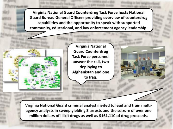 Virginia National Guard Counterdrug Task Force hosts National Guard Bureau General Officers providing overview of counterdrug capabilities and the opportunity to speak with supported community, educational, and law enforcement agency leadership.