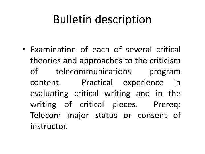Bulletin description