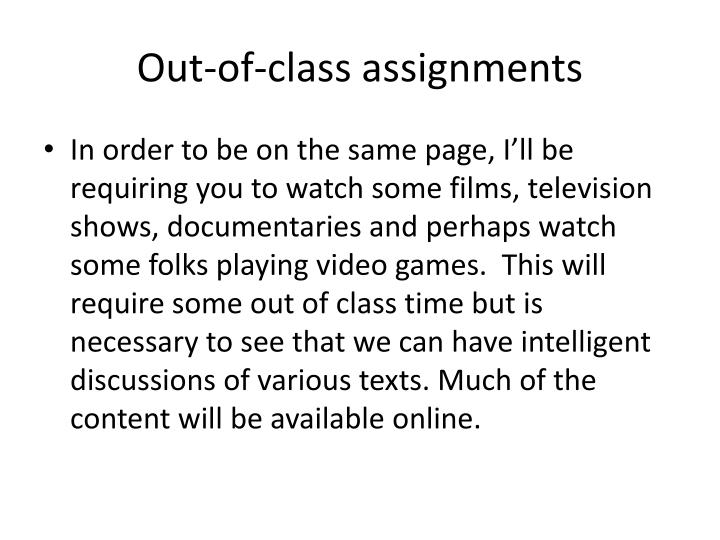 Out-of-class assignments