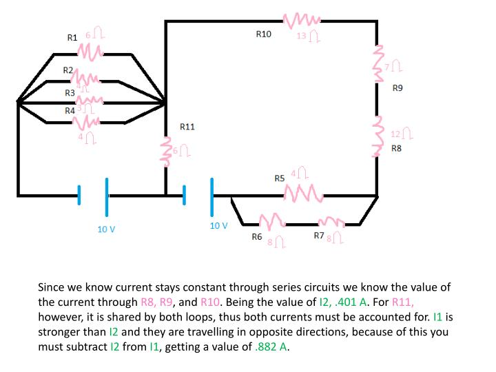 Since we know current stays constant through series circuits we know the value of the current through