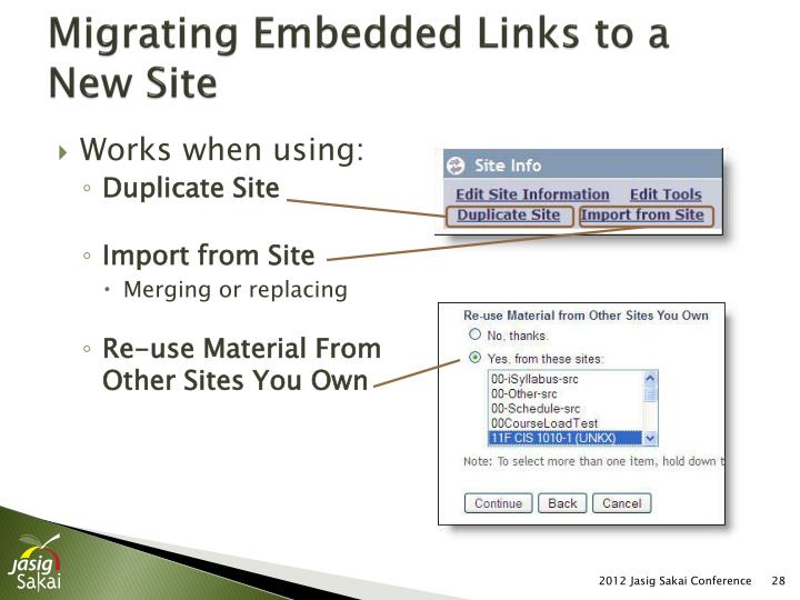 Migrating Embedded Links to a New Site