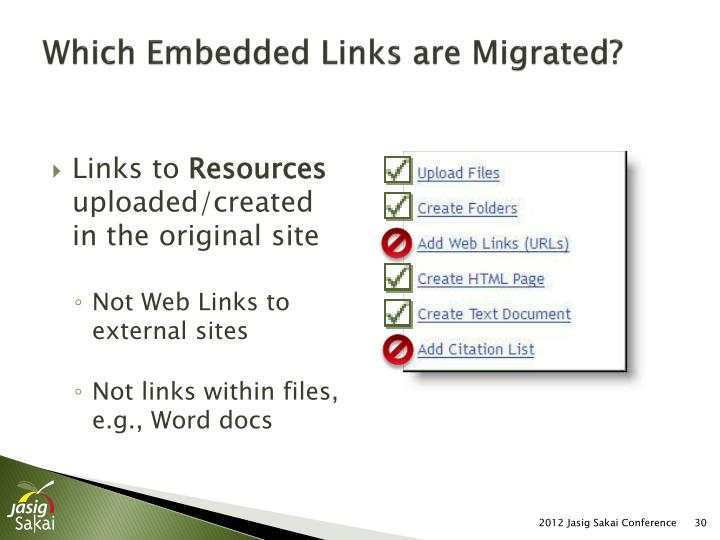 Which Embedded Links are Migrated?