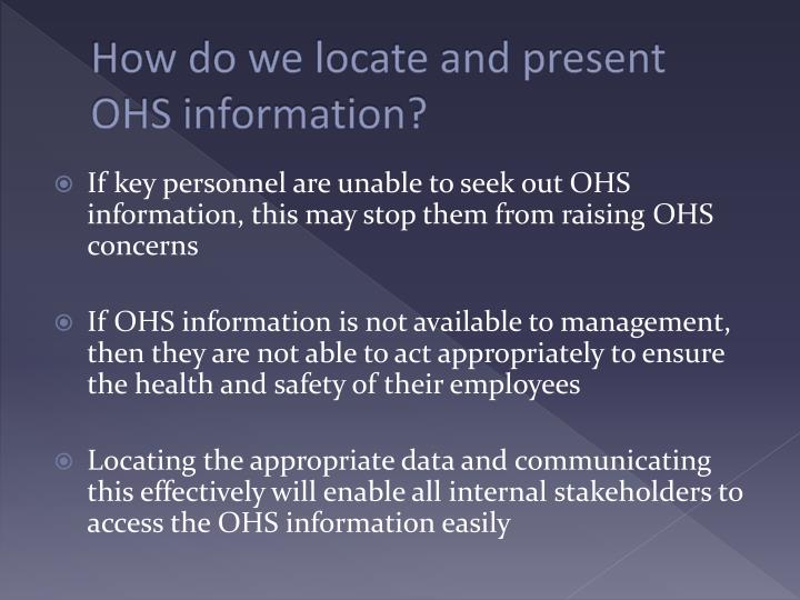 How do we locate and present OHS information?
