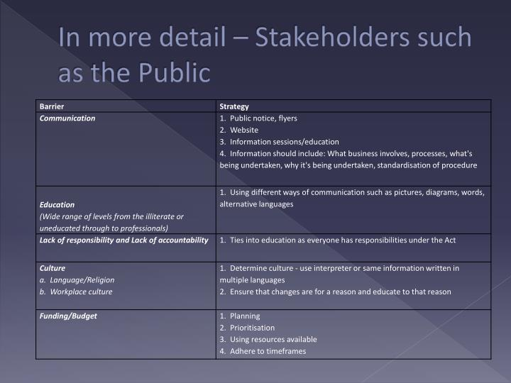 In more detail – Stakeholders such as the Public