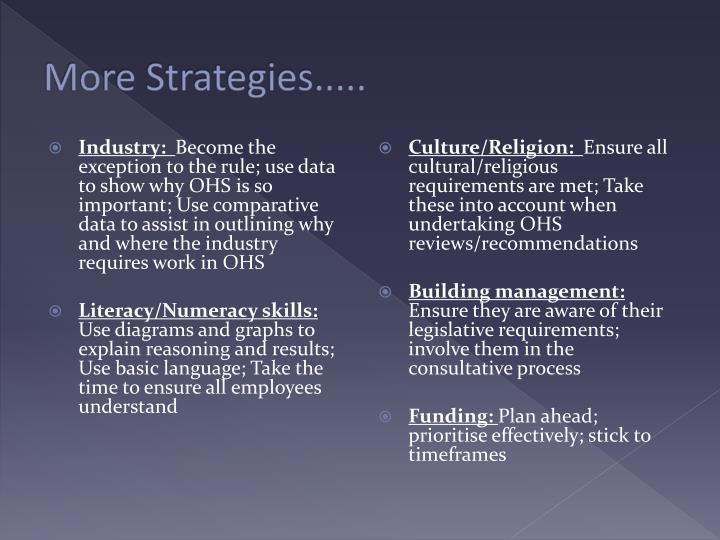 More Strategies.....