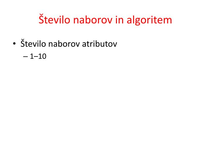 Število naborov in algoritem