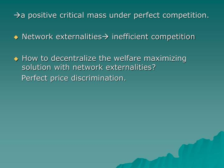 a positive critical mass under perfect competition.