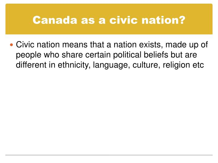 Canada as a civic nation?