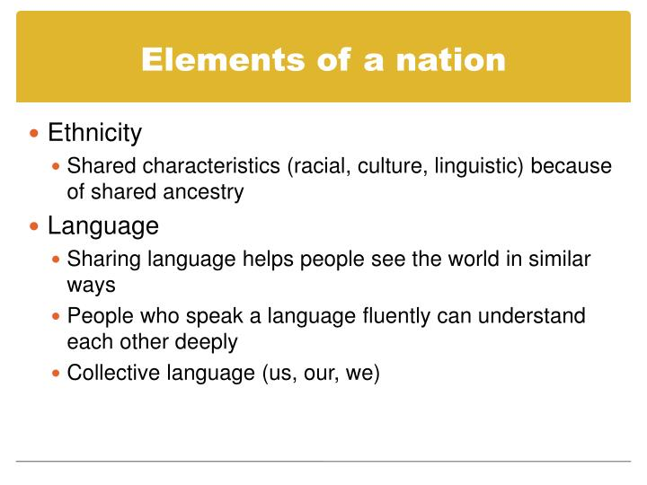 Elements of a nation