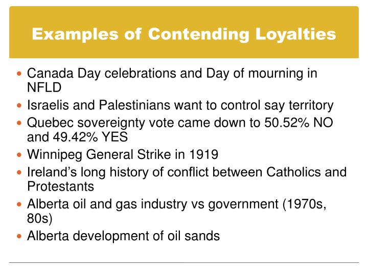 Examples of Contending Loyalties