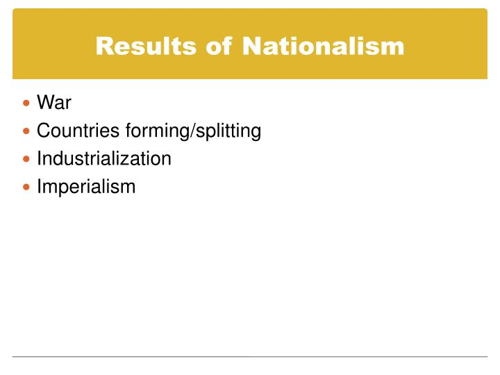 Results of Nationalism