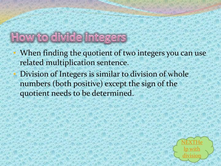 How to divide integers