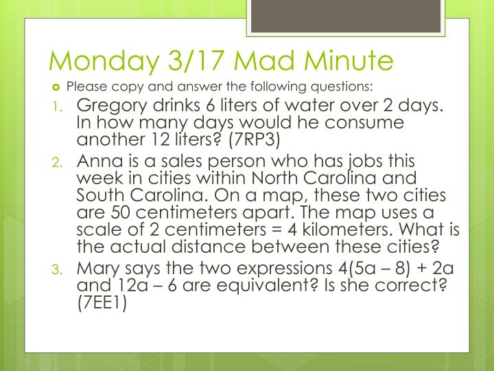 Monday 3/17 Mad Minute
