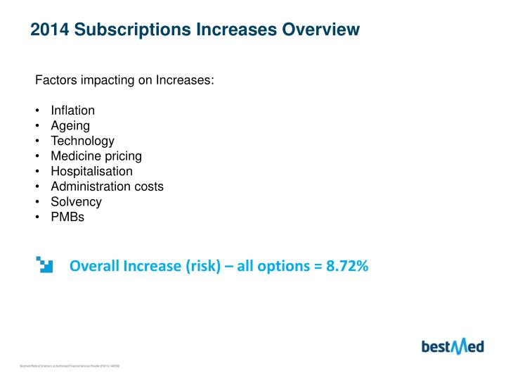 2014 Subscriptions Increases Overview