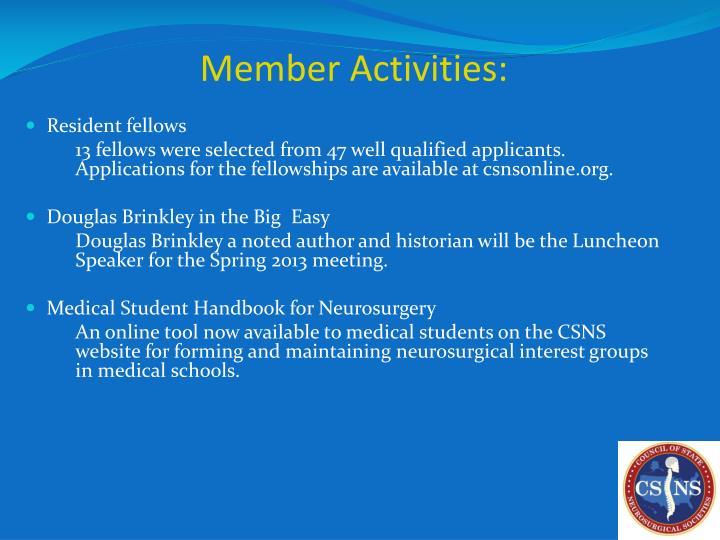 Member Activities: