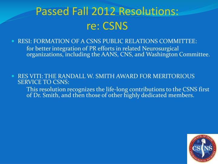 Passed Fall 2012 Resolutions: