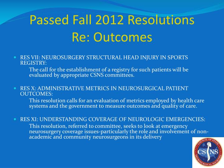 Passed Fall 2012 Resolutions
