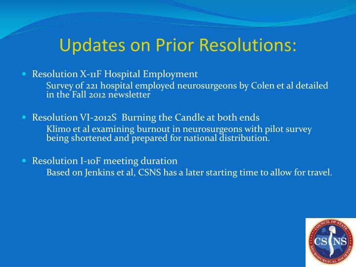 Updates on Prior Resolutions: