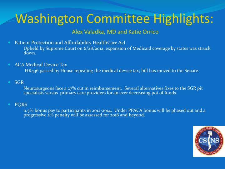 Washington Committee Highlights: