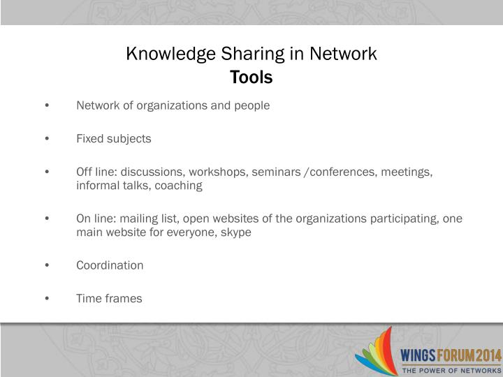 Knowledge sharing in network tools