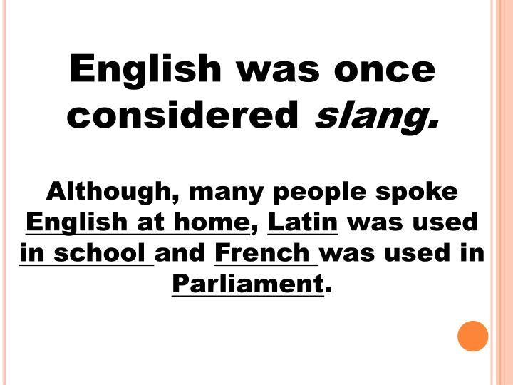 English was once considered