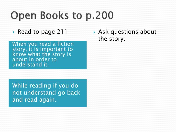 Open Books to p.200