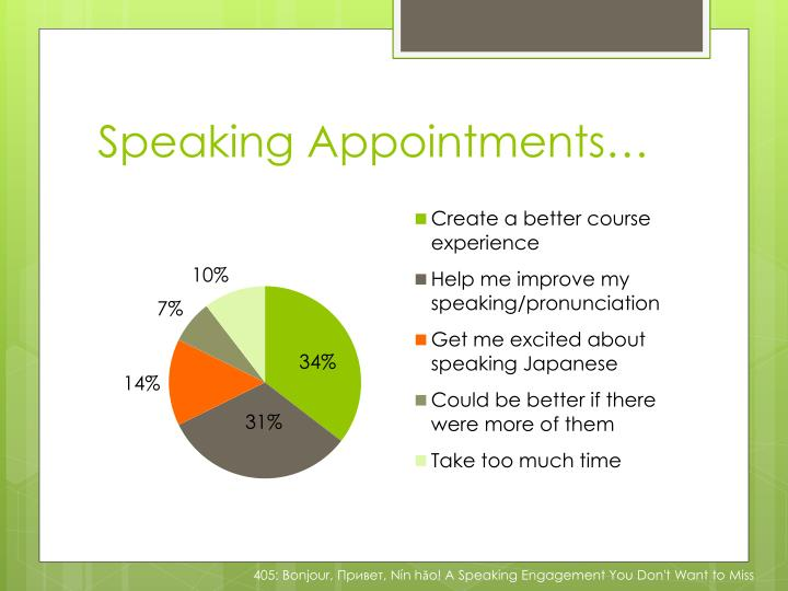 Speaking Appointments…