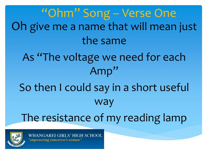 """Ohm"" Song – Verse One"